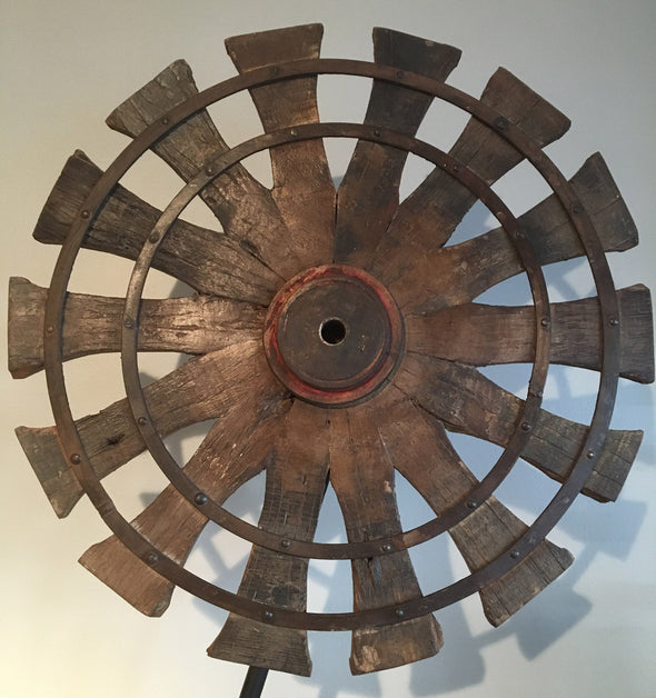 Vintage Charkha Spinning Wheel on Stand From India, Home Decor Accent, Upcycled