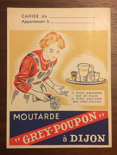 Vintage French Grey Poupon Mustard Advertising Notebook Cover/Protege Cahier Mortarde, Wall Decor Advertising Art
