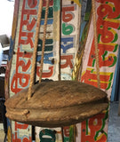Architectural Salvage Wood Pulley From Water Well In Indian,  Upcycled Into Hanging Object For Garden  Or Home