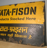 "Old Metal Advertising Sign From India, TATA-FISON, Automobile, Agriculture Sign, Porcelain Enamel On Steel, 22.5"" x 14 7/8"", Vintage Sign"