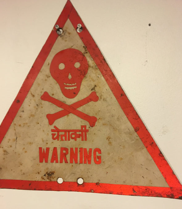 Vintage Handmade Warning Sign From India, Used In Industrial Setting, Skull and Crossbones, Hindi & English, Outsider Art,  SOLD OUT