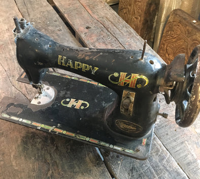 Old Sewing Machine From India, Great Decorative Piece, Happy Brand, Nice Home Accent Piece or Use Outside as Garden Decor