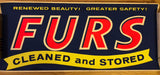 "Vintage Silk Screen Commercial Advertising Poster For Dry Cleaner Fur Storage Sign, est. 1960s Pop Art, Vivid Colors, Authentic, 15.5"" x 36"""