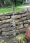Vintage Chippy Painted Cast Iron Fence Post Garden Stake, Architectural Salvage From India SOLD OUT
