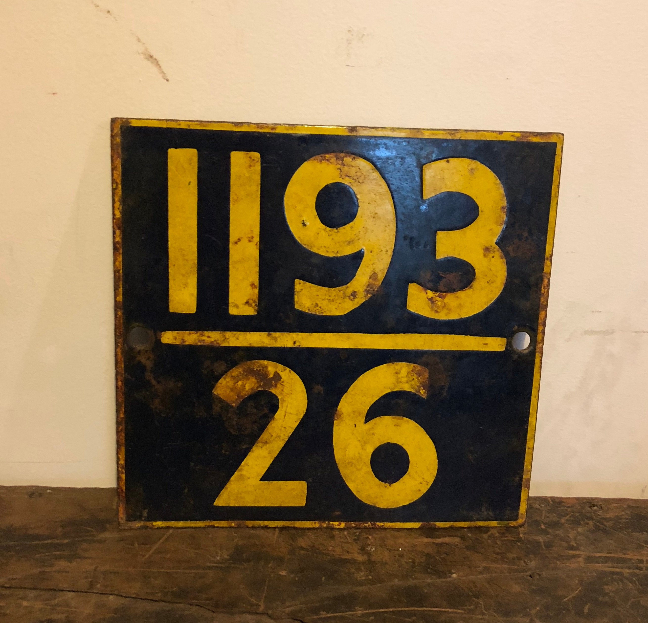 Vintage Enameled Metal Train Sign From India 10 25 X 10 25