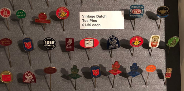 Coffee, Tea, Cheese, Vintage Enamel Pins From Holland, Circa 1960s, European Style Hat/Lapel Pins, Lot Sale, Retro Enamel Pins