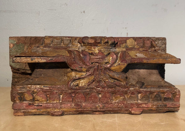 Unique Handcarved Half Wood Pilaster Base From India, Architectural, Detailed Wood Carving, Indoor Outdoor Decor, Plant Or Candle Stand