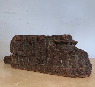 Architectural Salvage Hand Carved Wood Piece From Old Building In India, Unique One Of A Kind Home Decor