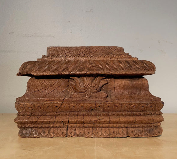Vintage Carved Wood Architectural Salvage Base From India Perfect As Candle Stand Plant Stand Bookshelf Decor Garden Art 50 - 100+ Years Old