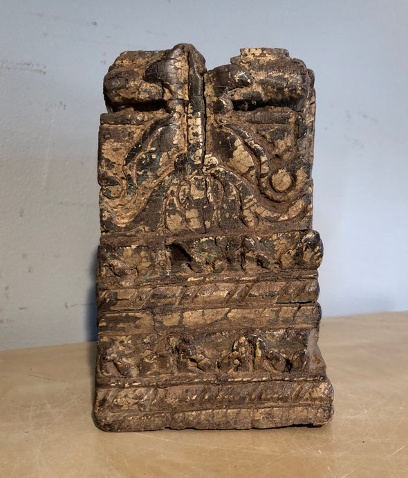 Vintage Handcarved Wood Architectural Salvage Wood Block From India, Wood carving, Indoor Outdoor Decor, Plant, Candle Stand, Bookend