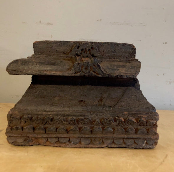 Vintage Carved Wood Architectural Salvage Base From India Perfect As Candle Stand Plant Stand Garden Art 50 - 100+ Years Old, Special Cost