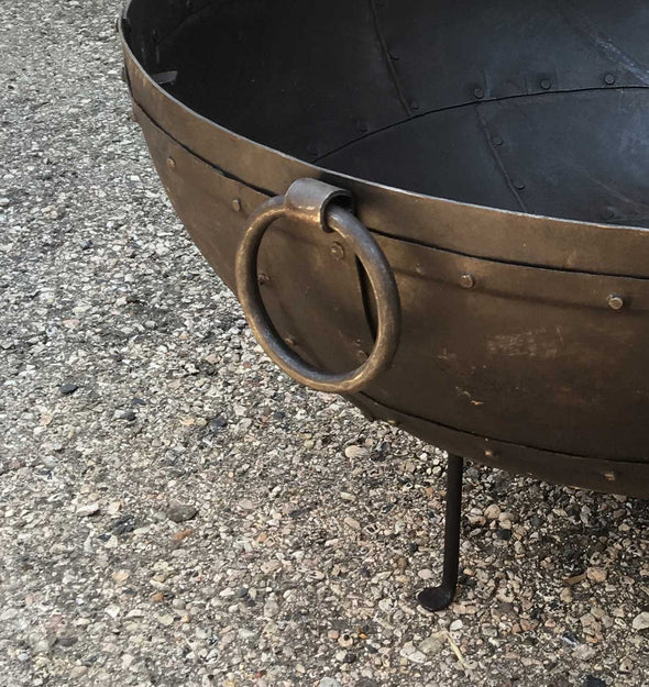 Steel Firebowl From India w/Grill Grate & Stand - Large (riveted) - Nomadic Grill + Home - 2