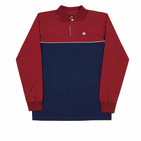 Magenta L/S Plant Rugby Shirt Tricolor
