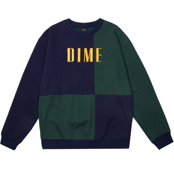 Dime Block Terry Crewneck Navy & Green