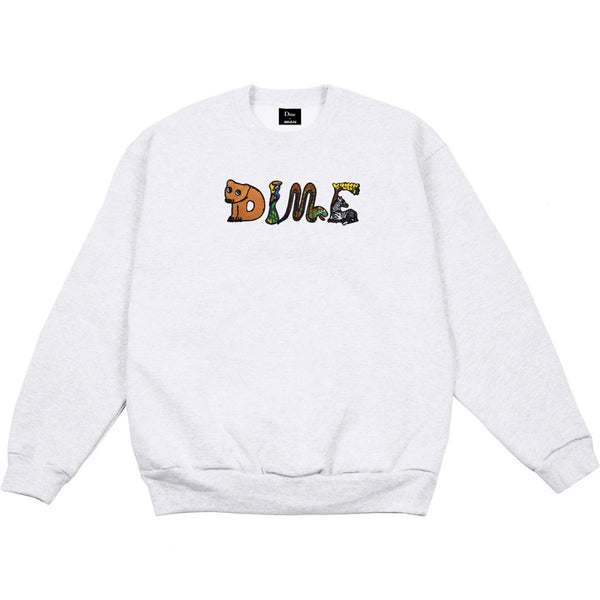 Dime Zoo Embroidered Crewneck Ash Grey