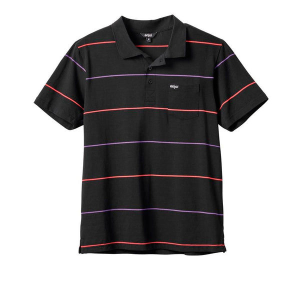 Enjoi No Comply Polo Black / Coral Stripe