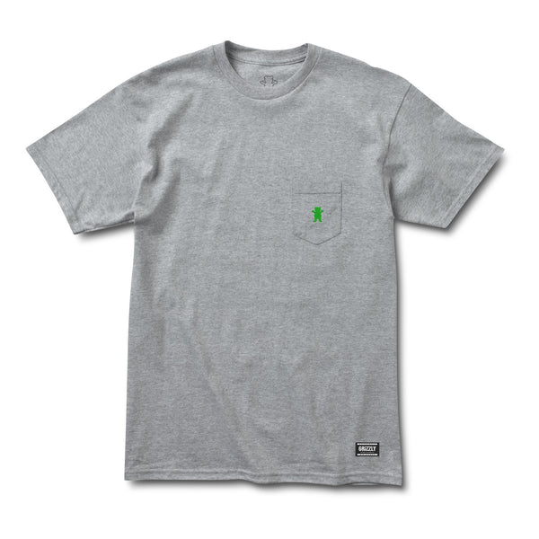 Grizzly Og Bear Embroidered Pocket Heather / Kelly Green