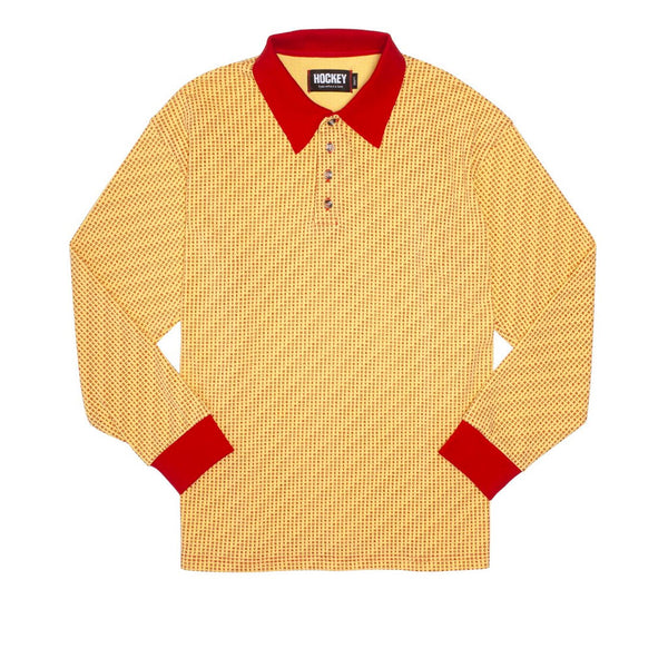 Hockey Hockey All Over Longsleeve Polo Gold / Maroon