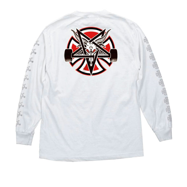 Independent X Thrasher Pentagram Cross L/S Regular White