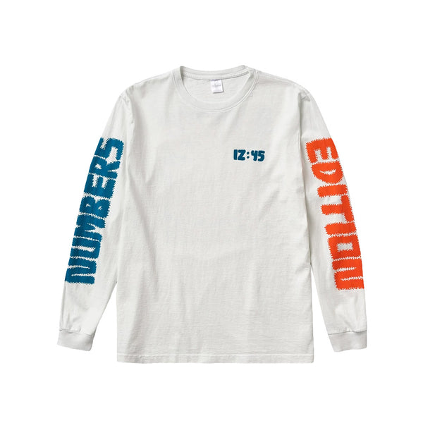 Numbers 12:45 Swirl Off Long Sleeve White