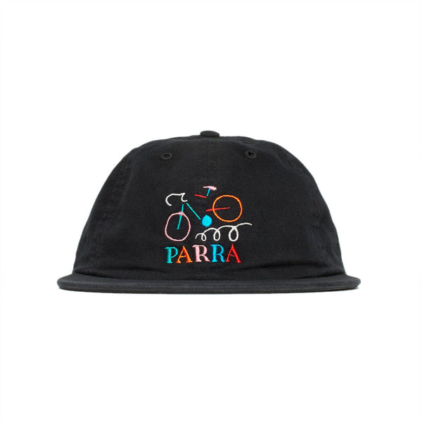 Parra 6 Panel Hat Broken Frame Stonewashed Black