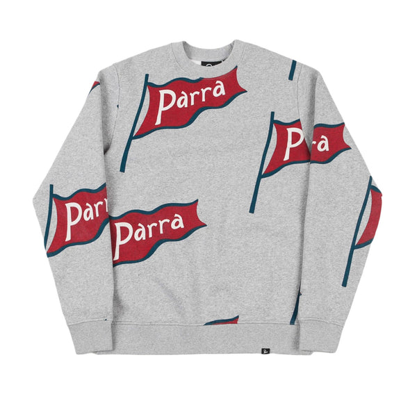 Parra Flapping Flag Crewneck Sweatshirt Heather Grey