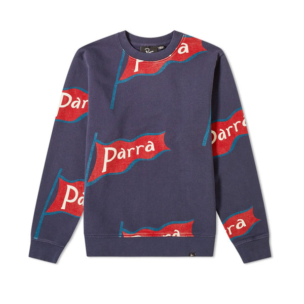 Parra Flapping Flag Crewneck Sweatshirt Navy Blue Q.
