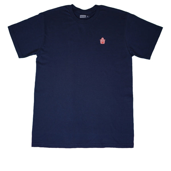 Pop Corn Corn Logo Navy Tee