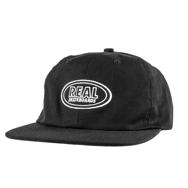 Real Hat Oval Emb Clip Black / White