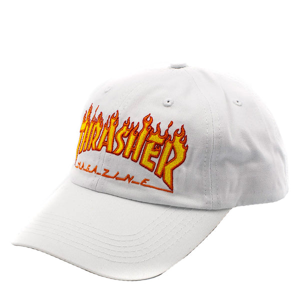 Thrasher Flame Old Timer Cap White