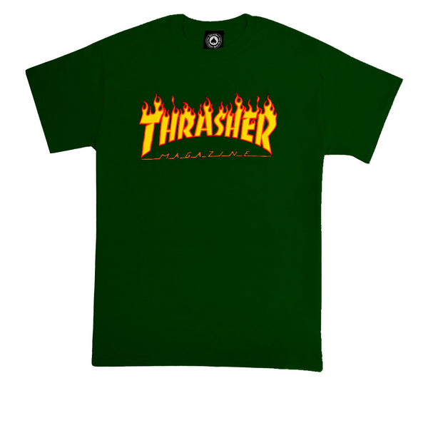Thrasher Flame Logo T-shirt Forest Green