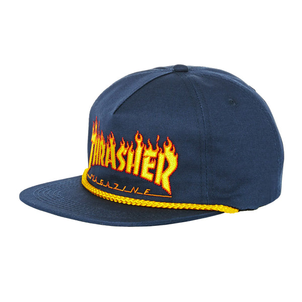 Thrasher Flame Rope Snapback Navy Blue