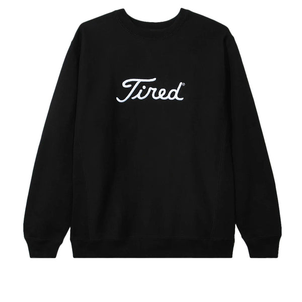 Tired Embroidered Golf Crewneck Black