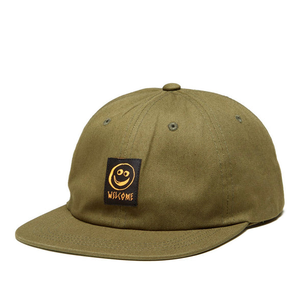 Welcome Smiley Unstructured Snapback Hat Green