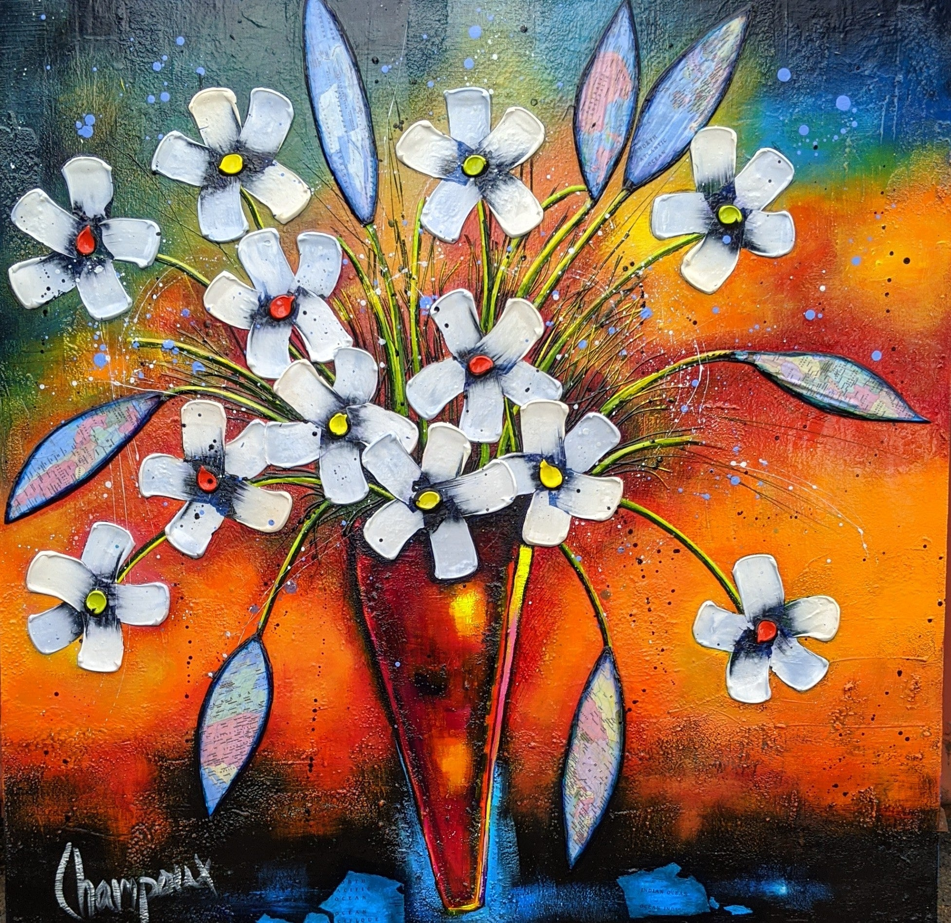 Danielle Champoux Original Acrylic Painting Flowers of the World