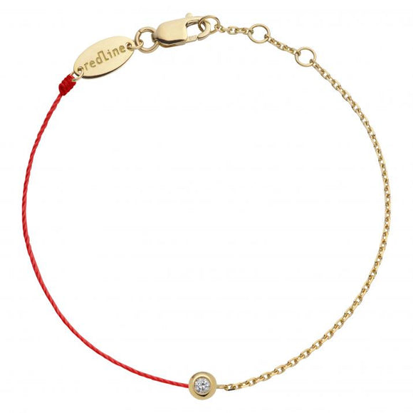 REDLINE MINI PURE String-Chain Bracelet For Women with 0.05ct Diamond in Yellow Gold Bezel Setting  0.05克拉圓形鑽石黃金半繩半鏈女士手鏈 - toppridehk