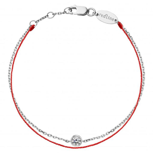 REDLINE PURE DUO Bracelet String Bracelet For Women with 0.10ct Diamond in White Gold Bezel Setting  0.10克拉圓形鑽石白金繩制女士手鏈 - 品薈toppridehk
