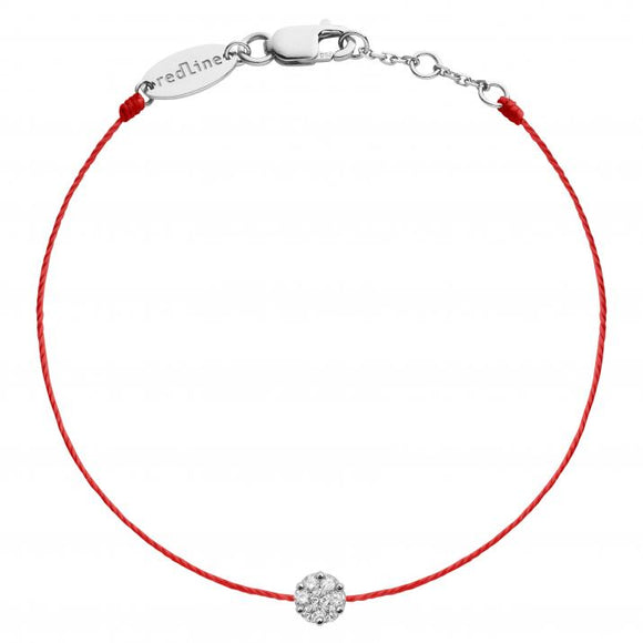 REDLINE SO ILLUSION String Bracelet For Women with 0.10ct Round Diamond in White Gold Cluster Setting 0.10克拉圓形鑽石白金繩制女士手鏈 - toppridehk