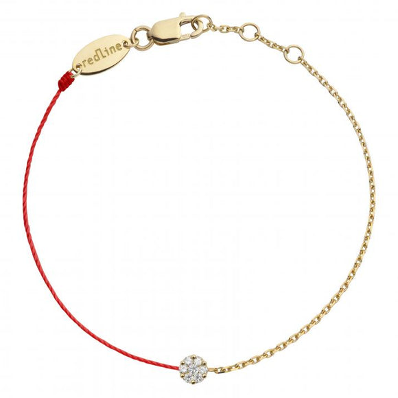 REDLINE ILLUSION String-Chain Bracelet For Women with 0.05ct Round Diamond in Yellow Gold Cluster Setting 0.05克拉圓形鑽石黃金半繩半鏈女士手鏈 - 品薈toppridehk