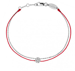 "REDLINE ILLUSION ""ELEGANT"" String Bracelet For Women with 0.05ct Round Diamond in White Gold Cluster Setting 0.05克拉圓形鑽石白金繩制女士手鏈 - toppridehk"