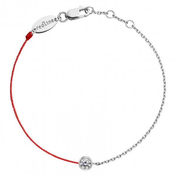 REDLINE PURE String-Chain Bracelet For Women with 0.10ct Round Diamond in White Gold Bezel Setting 0.10克拉圓形鑽石白金半繩半鏈女士手鏈 - 品薈toppridehk