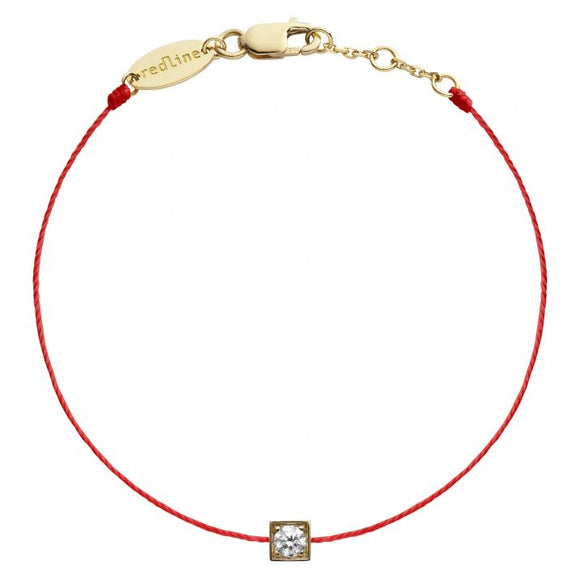 REDLINE CUBE String Bracelet For Women with 0.10ct Round Diamond in Yellow Gold Bezel Setting 0.10克拉圓形鑽石黃金繩制女士手鏈 - 品薈toppridehk