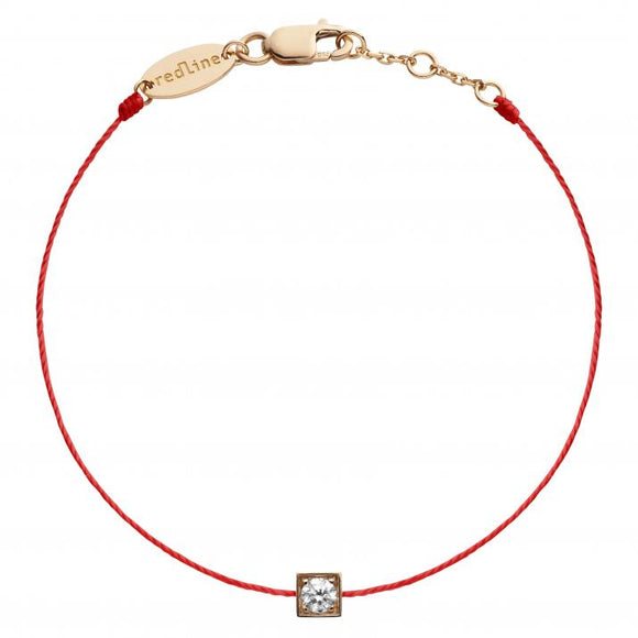 REDLINE CUBE String Bracelet For Women with 0.10ct Round Diamond in Rose Gold Bezel Setting 0.10克拉圓形鑽石玫瑰金繩制女士手鏈 - 品薈toppridehk