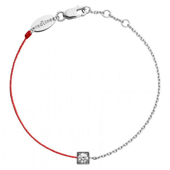 REDLINE CUBE String-Chain Bracelet For Women with 0.10ct Round Diamond in White Gold Bezel Setting 0.10克拉圓形鑽石白金半繩半鏈女士手鏈 - 品薈toppridehk