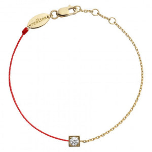 REDLINE CUBE String-Chain Bracelet For Women with 0.10ct Round Diamond in Yellow Gold Bezel Setting  0.10克拉圓形鑽石黃金半繩半鏈女士手鏈 - 品薈toppridehk