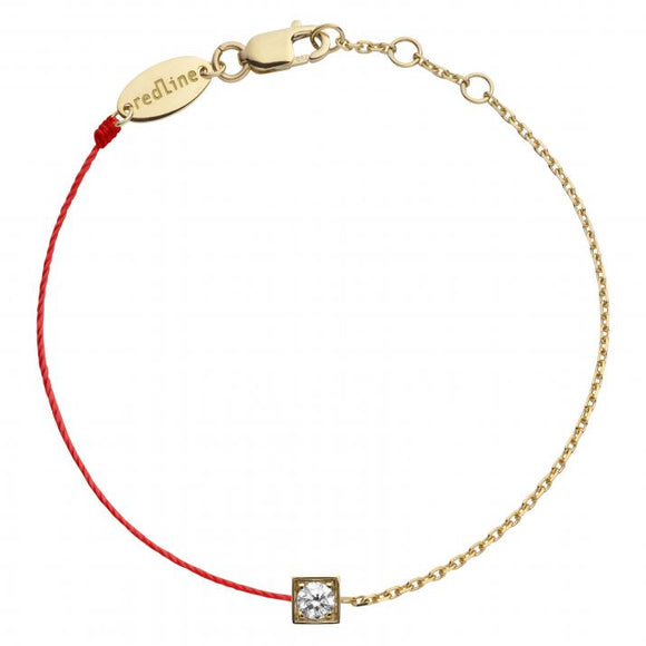 REDLINE CUBE String-Chain Bracelet For Women with 0.10ct Round Diamond in Yellow Gold Bezel Setting  0.10克拉圓形鑽石黃金半繩半鏈女士手鏈 - toppridehk