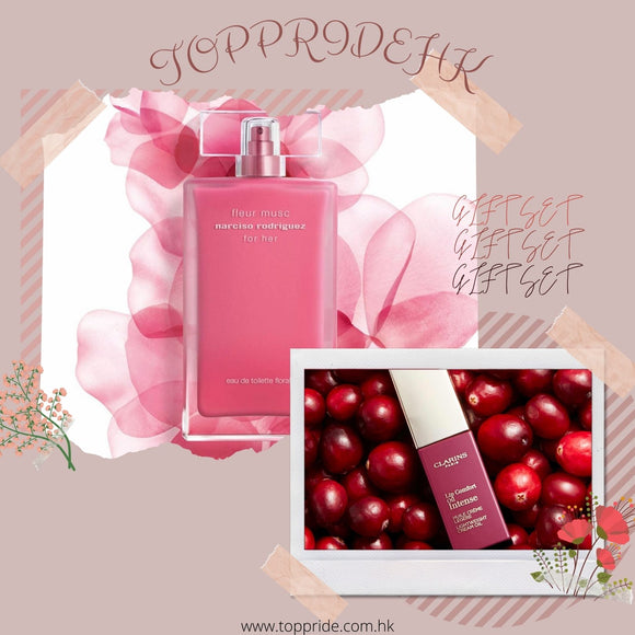 🎀Gift Set🎀Narciso Rodriguez Fleur Musc Florale EDT 100ml + Lip Comfort Oil Intense 05 Intense Pink 6ml