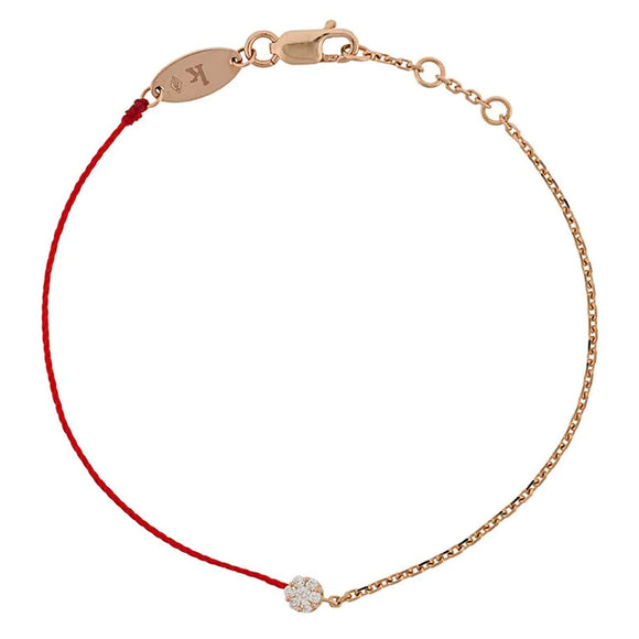 REDLINE SO ILLUSION String-Chain Bracelet For Women with 0.10ct Round Diamond in Rose Gold Cluster Setting  0.10克拉圓形鑽石玫瑰金半繩半鏈女士手鏈 - toppridehk