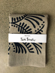 Linen Tea Towel - Fronds print SOLD OUT