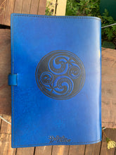 Load image into Gallery viewer, A4 Leather Journal Cover - Celtic Horses - Blue